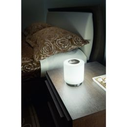Fabas Luce nickel satinierte LED Tischleuchte Simi 8W mit Opalglas