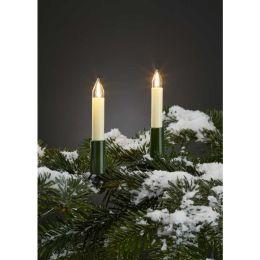 Hellum 32m LED Filament Schaftkerzenkette Outdoor warmweiß elfenbein