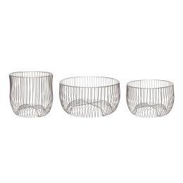 Hübsch Drahtkorb 3er Set - gebürstetes Eisen Metall silber