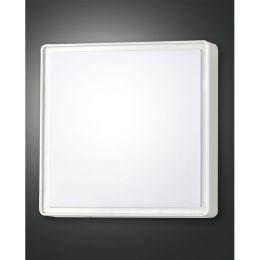 Fabas Luce weiße Außen-Wandleuchte OBAN mit Sensor 300x300mm