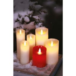Firelamp LED Echtwachs-Kerze Set Flammeneffekt 12,5cm 18cm 23cm Ø9cm elfenbein mit Fernbedienung
