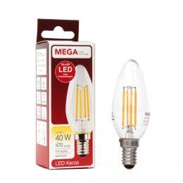 MegaLight LED Filament Kerzenlampe 4,5W (40W) E14 927 NODIM
