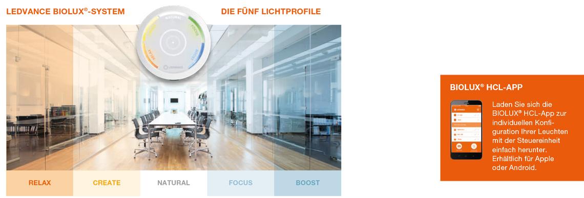Ledvance Biolux mit fünf Lichtprofilen