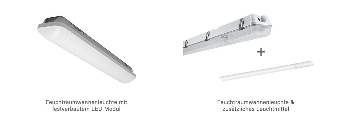 LED Feuchtraumwannenleuchte und Feuchtraumwannenleuchte ohne Leuchtmittel
