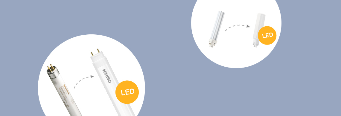 Umstieg auf LED bei Kompaktleuchtstofflampen und leuchtstoffröhren